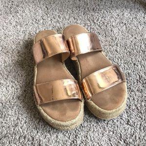 Aldo gold wedge sandals
